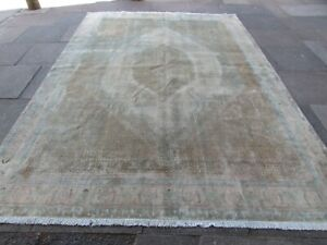 Vintage Hand Made Traditional Wool Faded Beige Large Distressed Carpet 340x243cm