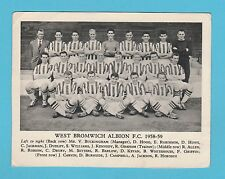 FOOTBALL  -  ANONYMOUS  FOOTBALL  TEAM  CARD  -  WEST  BROMWICH  F.C. - 1958-59