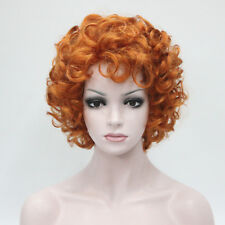 2018 New fashion sexy orange Highlights curly short wig women's full wig