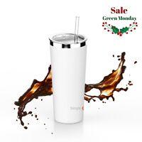 Holiday Season Vacuum Insulated  Stainless Steel Coffee MUG W/Straw 22OZ