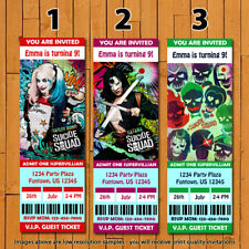 Suicide Squad - The Movie - Printed Ticket Birthday Invitations - 20 w/Envelopes