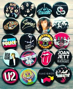 """80s Band button set, Lot of 20-1.25"""" Rock band buttons pins"""