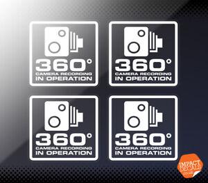 360 degree camera recording stickers 4 x 55mm / Car window Decals