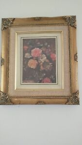 """Flower Print in Gold Painted Wood Frame Height 14"""" Width 12"""""""