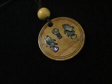 Handmade Mother of Pearl Olive Wood Loaves & Fishes Necklace Bethlehem Palestine