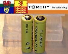 2x 7.5A Torchy IMR 14500 Button Top 650mAh  3.7v Li-Ion batteries + case
