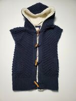 Zara Knit Sherpa Lined Hooded Cardigan Vest Size Large Blue Chunky Sweater