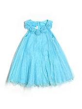 Girl Jessica Ann Light Blue White Polka Dot Rosette Holiday Party Dress Size 5