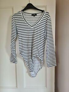 Navy And White Striped Bodysuit