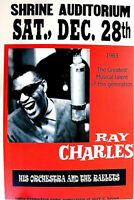 RAY CHARLES - SHRINE AUDITORIUM LOS ANGELES 1963 2ND PRINT POSTER SCARCE