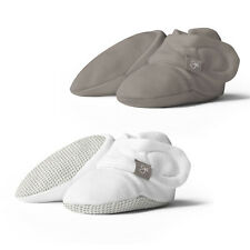 Goumikids Stay On Organic Baby Boots Infant Booties, 0-3M Gray/Pewter (2 Pairs)