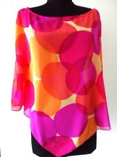 Rubber Ducky Womens Sheer Big Bubbly Circle Print Pocho Blouse Top Hot Pink Sz S