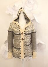 FREE PEOPLE Fair Isle Nordic Cardigan Sweater Sz S Chunky Wool Gray|Ivory LS