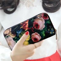 Hot Women Purse Fashion Lady Oil painting Long Clutch PU Leather Wallet Bags