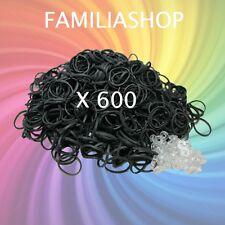 600 élastiques de couleur NOIRE + 24 clips pour bracelet style Rainbow Loom
