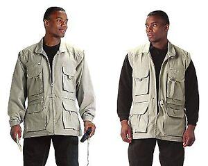 Khaki Safari Outback Convertible Vest Jacket - Fishing Vest w/ Zip-Off Sleeves!