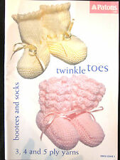 6c82cc2ed23d5e ~PATONS KNITTING/CROCHET PATTERN BOOK C45- TWINKLE TOES BOOTEES & SOCKS - GC