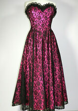 Vintage Gothic Wedding Dress Gown Black Lace Hot Pink Size 11