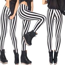 Women Vertical Striped Leggings Skinny Pants Punk Pencil Stretch Long Trousers