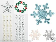 Christmas Self Adhesive Stickers Diamante Snowflake Holly Frozen Scrapbook Craft