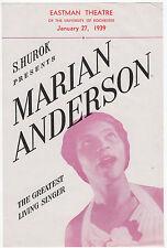 1939 Marian Anderson Handbill Trade Eastman Theatre University of Rochester N.Y.