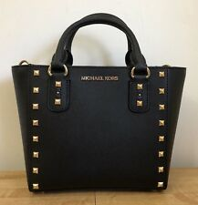 Michael Kors Sandrine Stud Small Crossbody Black Saffiano Leather Handbag