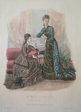 GRAVURE EN COULEUR 19ème MODE ILLUSTREE 1877 N° 51 TOILETTES MADAME FLADRY