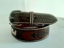 Cintura VINTAGE EL CHARRO E166 inserti in metallo a foglia e scritta a fuoco