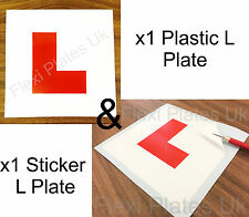x2 L Plates - 1 Plastic / 1 Stick On - Motorbike Motorcycle Scooter Learner