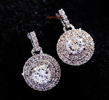 Sterling Silver Post Clear Crystal Round Diamond Cluster Drop Earring XE113