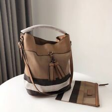 NEW Burberry Ashby Leather and Canvas Hobo Bag Saddle Brown with small defect