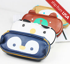 Faux Leather Pencil pen case Cosmetic bag purse travel pouch Kawaii Cute Animal