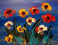 FLOWERS   Abstract Modern Original Oil Painting by Mark Kazav FY79R