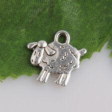 80 x Tibetan Silver Sheep Pendant Charms Antique 14mm