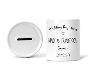 Personalised Wedding Fund Money Box   Engagement Gift   Couples Piggy Bank Jar