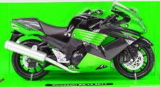 KAWASAKI zx-14 Negro-Verde 2011 Moto Modelo 1:12 DE METAL MODELO DE LA BICI