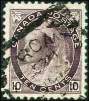 Canada #83 used VF 1898 Queen Victoria 10c brown violet Numeral Squared Circle