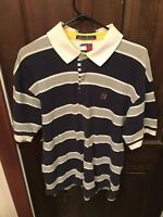 Vtg 90s Tommy Hilfiger Mens Navy Blue Striped L/S Rugby Polo Shirt Sz Large