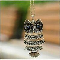 Vintage Necklace Owl Pendant Chain Sweater Bronze Splice Design Women FREE SHIP