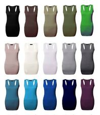 Womens Ladies Plus Size Long Racer Back Bodycon Muscle Vest Gym Sports Tops *Rcr