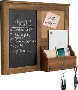 MyGift Wall-Mounted Vintage Brown Wood Chalkboard with Cork Board & Mail Holder