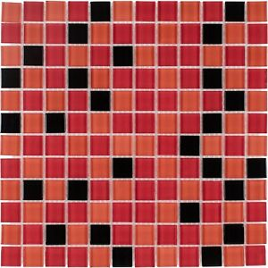 Modern Square Black Orange Red Glass Mosaic Tile Backsplash Kitchen Wall MTO0375