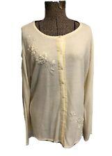 Covington 20-22W 2X Cream Cardiagn Sweater Button Beaded Womens Long Sleeve