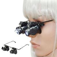 20 x Lupenbrille Vergrößerungs LED Lichtglas Uhrmacher Brille Juwelier Lupe Neu