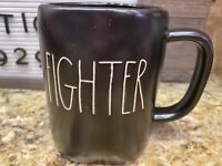 ⭐️Rae Dunn By Magenta -LL FIGHTER -Black Ceramic Coffee Mug Fight The good Fight