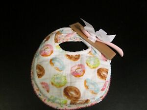 Muslin Bibs and Pink Silicone Spoon Set by Mud Pie, NWT