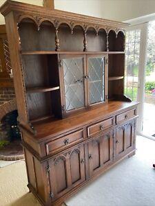 Old Charm Wood Bros Arched Oak Dresser Sideboard Tudor Brown Finish