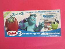 BOX OF 3  MONSTER UNIVERSITY SURPRISE CHOCOLATE EGGS WITH TOY INSIDE