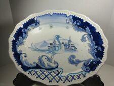 Vintage MAIOLICHE DERUTA  Large Oval Platter Italy  Blue White