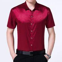 Men Silk Satin Floral Dress Shirts Fit Business Formal Short Sleeve Casual Tops
